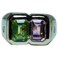 18K Gold Tourmaline Peridot Diamond Ring Heavy Italy