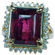 6ct Pink Tourmaline Diamond Halo Ring 18K Gold Vintage Estate Heavy