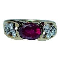 Krementz Platinum 18K Gold Rubellite Tourmaline Diamond Ring Designer