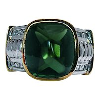 Vintage Sugarloaf Green Tourmaline Diamond Mens Ring 18K Gold Heavy Estate