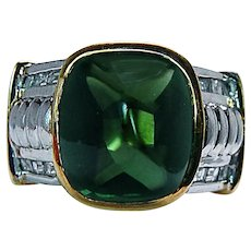 Vintage Sugarloaf Green Tourmaline Diamond Mens Ring 18K Gold Heavy Estate