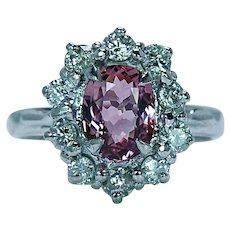 Vintage Pink Tourmaline Diamond Halo Ring 14K White Gold Estate