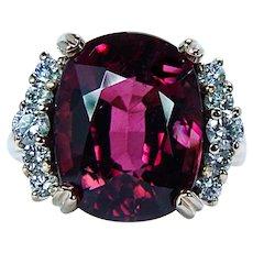 Cushion Rubellite Tourmaline Diamond Ring 14K Gold Designer 9.6ct