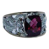 Vintage Rubellite Tourmaline Cushion Diamond Ring 14K Gold Designer Estate Heavy