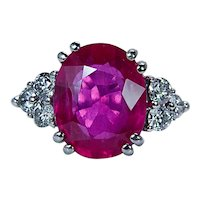 Rubellite Tourmaline Diamond Ring 18K White Gold HEAVY Estate FINE!!