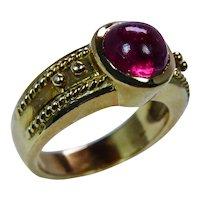 Rubellite Tourmaline Ring 18K Gold Heavy Etruscan Style Estate