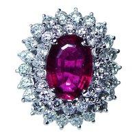 Giant Rubellite Tourmaline 18K White Gold Diamond Halo Ring