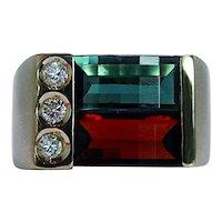 Vintage H Stern Tourmaline Garnet Diamond Ring 18K Gold Designer Signed