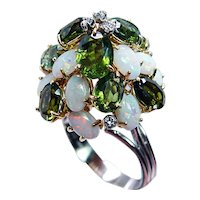 Giant Vintage Opal Tourmaline Diamond Ring 18K Gold Very Tall