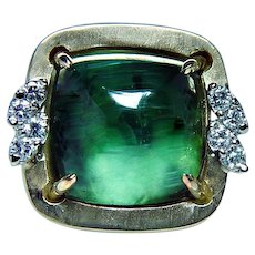 Vintage 18K Gold 12ct Tourmaline Sugarloaf Diamond Ring Heavy Estate