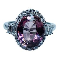 Vintage 4ct Pink Tourmaline Baguette Diamond Halo Ring 18K White Gold Estate Jewelry