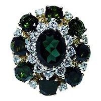 Vintage Massive Tourmaline Diamond 18K Gold Ring Heavy Sz10