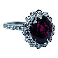 Vintage Pink Tourmaline Diamond Halo Princess Diana Ring 18K White Gold Estate
