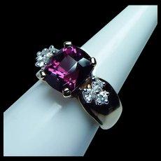 Vintage Rubellite Tourmaline Diamond Ring 14K Gold Heavy Estate