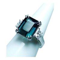 Indicolite Blue Tourmaline Shield Diamond 3 stone 18K White Gold Ring GIA 7.2ct