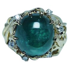 Vintage Tourmaline Diamond 18K Gold Ring Heavy Estate 13ct Teal Blue
