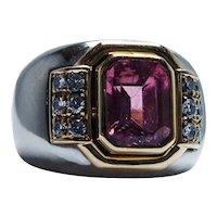 Vintage Pink Tourmaline Diamond Ring 18K White Gold Italy Heavy Estate
