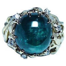 Vintage Teal Blue Tourmaline Diamond 18K Gold Ring Heavy 13ct center