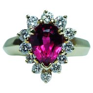 Vintage Rubellite Tourmaline Gem Diamond Halo Ring 18K Gold Estate