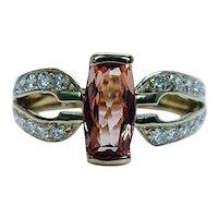 Cushion Imperial Topaz Diamond Ring 18K Gold Estate Designer Signed Size 9.5