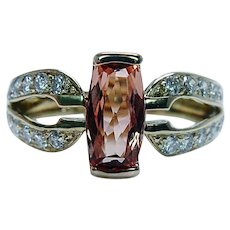 Cushion Imperial Topaz Diamond Ring 18K Gold Estate Designer Signed Size 9.5