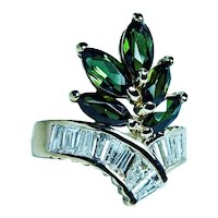 Vintage 18K Gold Baguette Diamond Tourmaline Ring