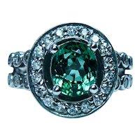 Vintage GEM Green Tourmaline Diamond Ring 14K White Gold Estate Heavy