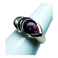 Vintage Rhodolite Garnet Diamond 14K Gold Ring Heavy