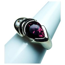 Vintage Rhodolite Garnet Diamond 14K Gold Ring Heavy