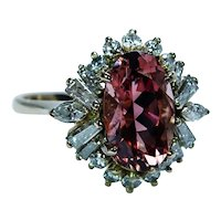 Vintage 18K Gold Peach Tourmaline Marquise Baguette Diamond Ring