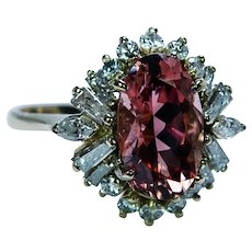 Vintage 18K Gold Peach Tourmaline Marquise Baguette Diamond Ring