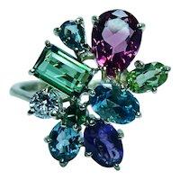 H Stern Diamond Tourmaline Amethyst Alexandrite Peridot Aquamarine Ring 18K Gold Estate