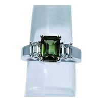 Vintage Tourmaline Emerald cut Diamond 3 stone Ring Estate 18K White Gold