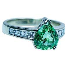 Vintage Tsavorite Garnet Asscher Diamond 18K Gold Ring Estate