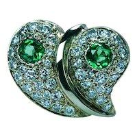 Large Vintage Tsavorite Garnet Diamond 14K Gold Heart Ring Estate