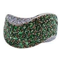 Designer Tsavorite Garnet Diamond Ring 14K Gold John C Rinker