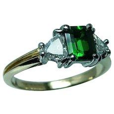 Tsavorite Garnet Trillion Diamond 3 stone Ring 18K Gold Platinum