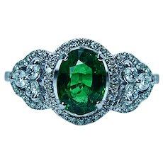 Vintage Tsavorite Garnet Diamond 14K White Gold Halo Ring Estate