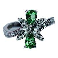 Salavetti Tsavorite Garnet Baguette Diamond 18K White Gold Ring Designer Signed