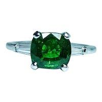 Vintage Cushion Tsavorite Garnet Platinum Baguette Diamond 3 stone East-West Ring