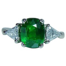 Tsavorite Garnet Trillion Diamond 3 stone Ring 14K Gold Cushion 2.6ct