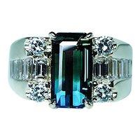 Vintage Blue Green Bi Color Tourmaline Diamond 14K Gold Ring Fine