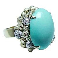 Giant Persian Turquoise Diamond 18K Gold Ring Heavy 16 grams Mid-Century