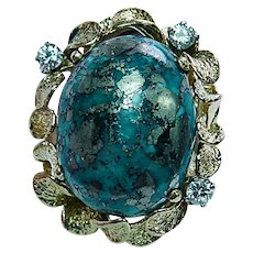 Vintage 42ct Turquoise Diamond 18K Gold Ring Giant Heavy Estate