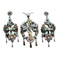 Vintage Bird Swallow Nest Turquoise Pendant Earrings Set 14K Gold Naturalistic