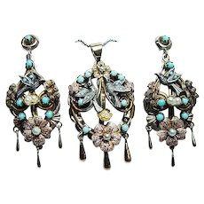 Vintage Bird Swallow Nest Turquoise Pendant Earrings Set 14K Gold Naturalistic