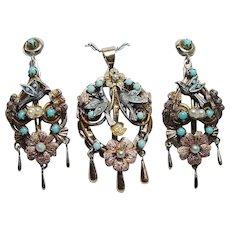 Vintage Turquoise Bird Swallow Nest Pendant Earrings Set 14K Gold Estate Naturalistic