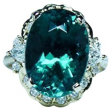 Vintage Indicolite Blue Tourmaline 18K Gold Trillion Diamond Ring
