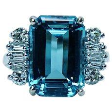 Vintage London Blue Topaz Baguette Diamond Ring 14K Gold Designer