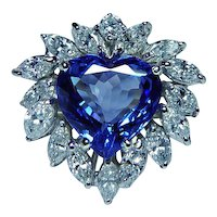Highest Quality 4.15ct Tanzanite Diamond Marquise Heart Cocktail 18K Gold Ring  GIA